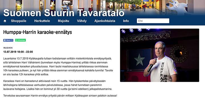 Lähihoitaja Harri Vähäniemi on tehnyt karaoken maailmanennätyksen.