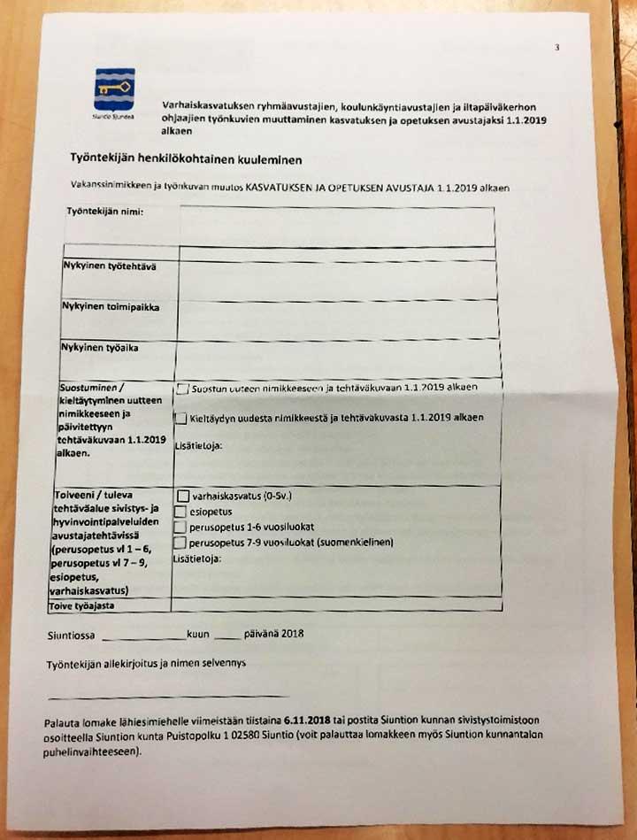 Siuntion kunnan suostumuslomake nimikemuutokseen syksyltä 2018.