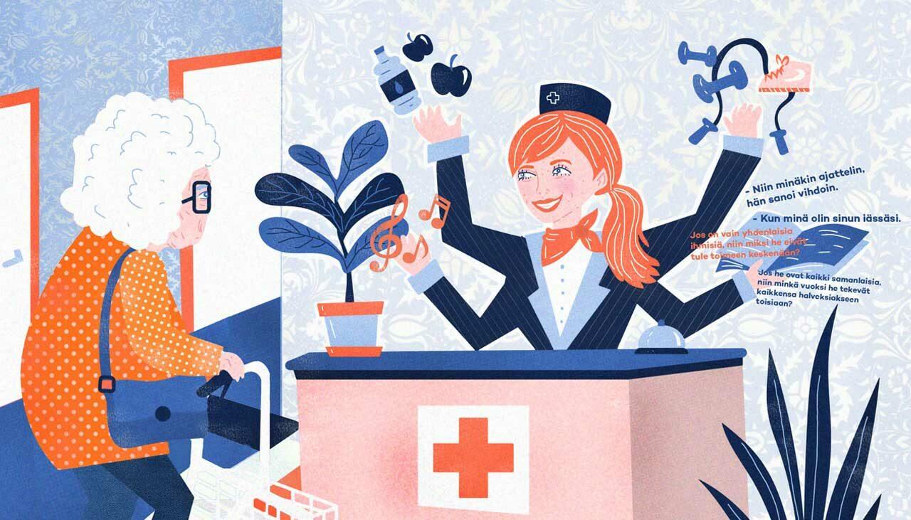 Tulevaisuuden työelämä on erilainen kuin tämän päivän. Kuvassa tulevaisuuden ammatti sairaalaconcierge.