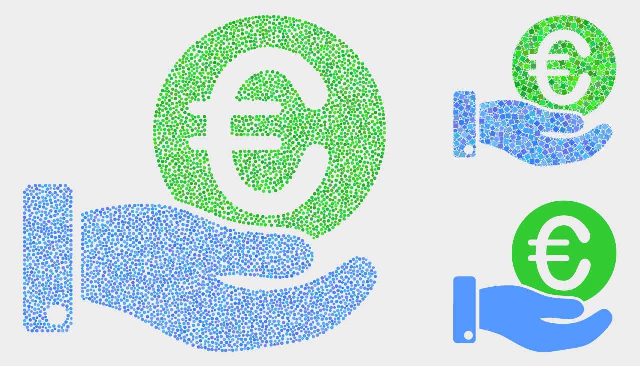 EU:ssa puuhataan minimipalkkauudistusta. Kuvassa eri kokoisia eurokolikkojen symboleita.