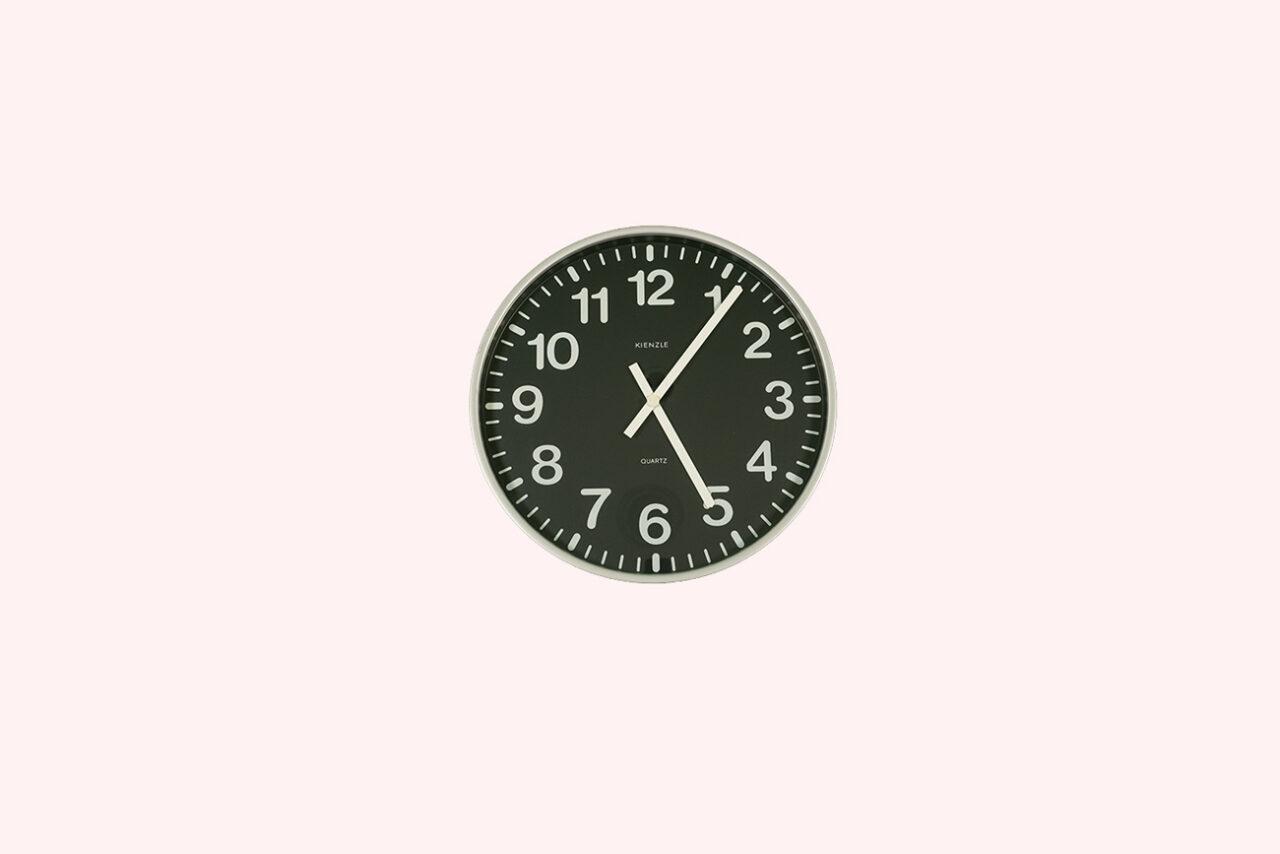Klockan är sex minuter över fem.