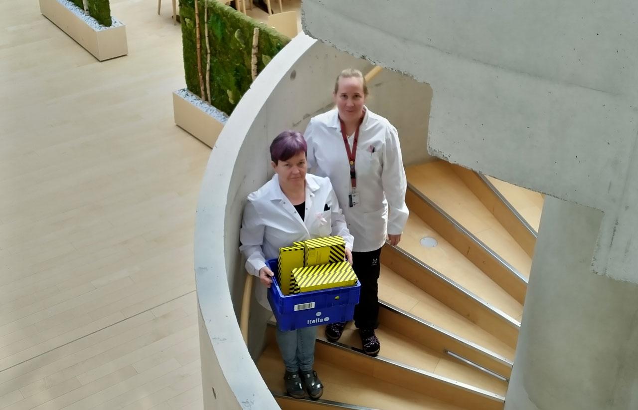 Ruokaviraston JHL:läiset laboratoriotyöntekijät Merja Hautala ja Tiina Peltonen kantavat koronatutkimuksiin liittyvää aineistoa alas kierreportaissa.