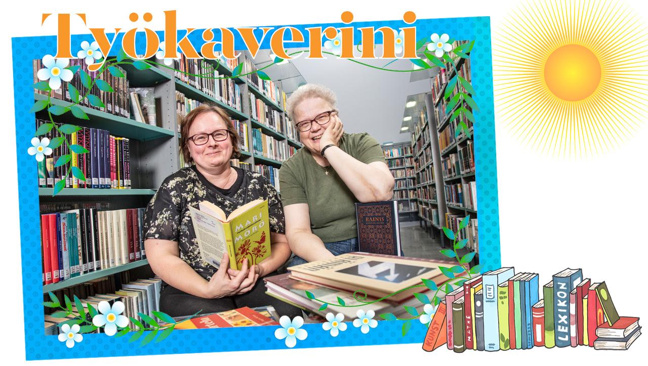 kirjastovirkailijat Auli Rantasalo ja Tiina Muikku